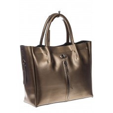 На фото 1 - Женская сумка шоппер из натуральной кожи, цвет серое золото