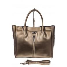 На фото 2 - Женская сумка шоппер из натуральной кожи, цвет серое золото