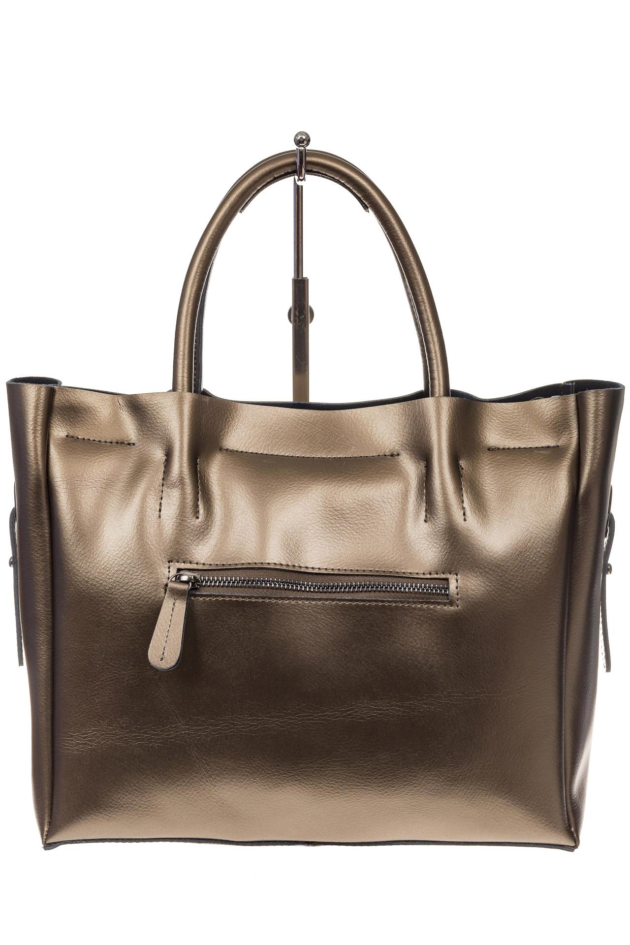 На фото 3 - Женская сумка шоппер из натуральной кожи, цвет серое золото