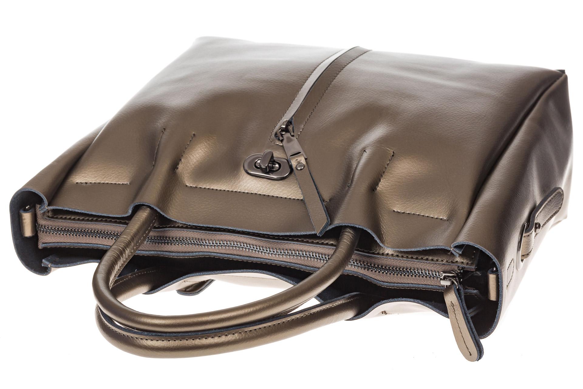 На фото 4 - Женская сумка шоппер из натуральной кожи, цвет серое золото