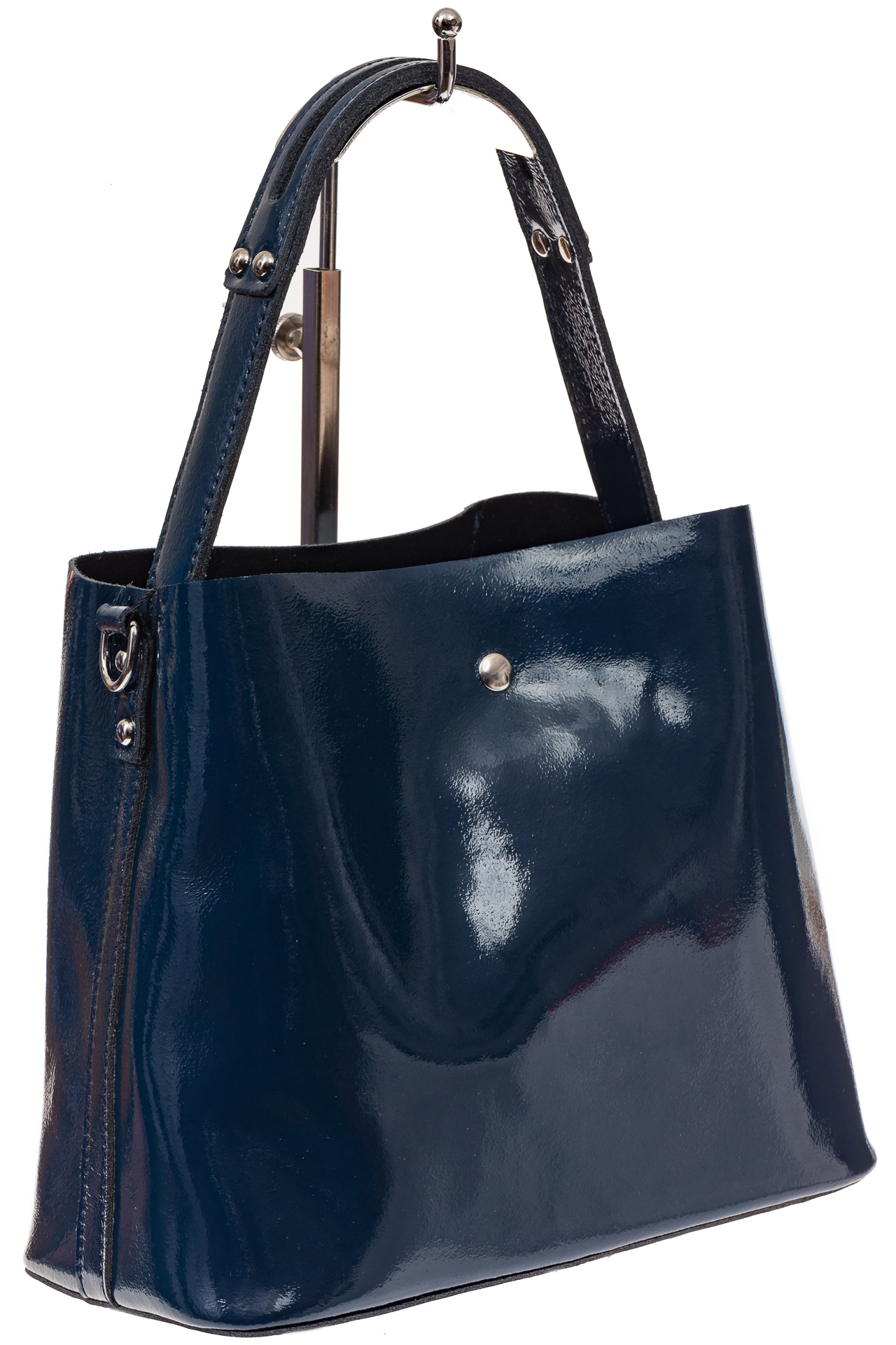 На фото 1 - Женская сумка шоппер из натуральной кожи, цвет синий