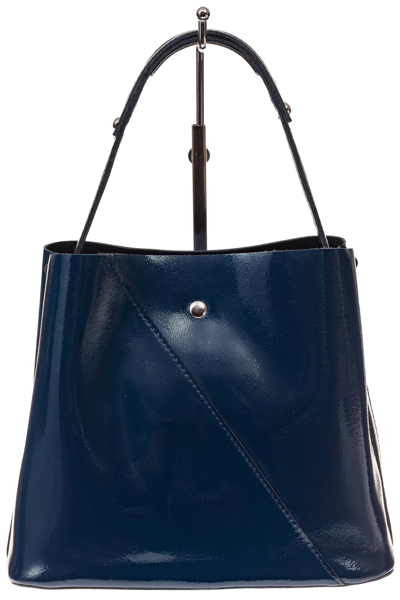На фото 2 - Женская сумка шоппер из натуральной кожи, цвет синий
