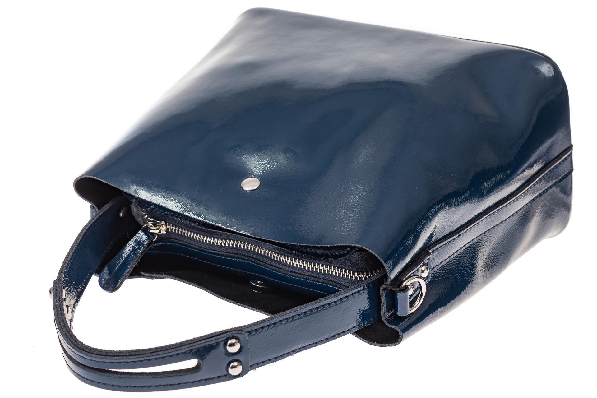 На фото 3 - Женская сумка шоппер из натуральной кожи, цвет синий