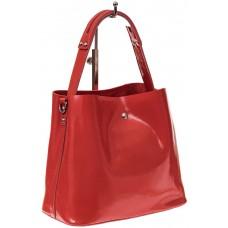 На фото 1 - Женская сумка шоппер из натуральной кожи, цвет красный