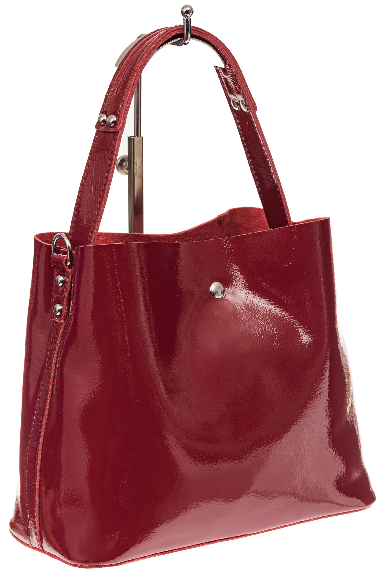 На фото 1 - Женская сумка шоппер из натуральной кожи, цвет бордовый