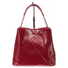На фото 2 - Женская сумка шоппер из натуральной кожи, цвет бордовый