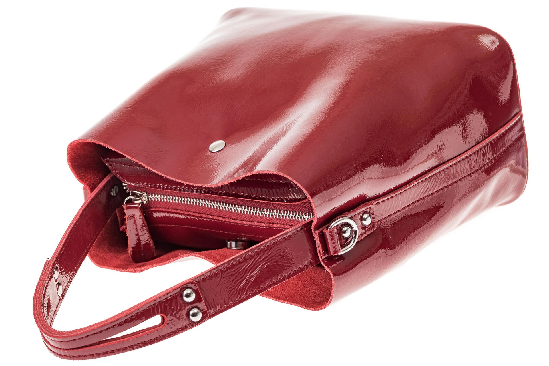 На фото 3 - Женская сумка шоппер из натуральной кожи, цвет бордовый