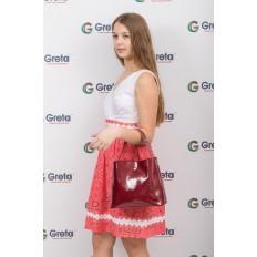 На фото 4 - Женская сумка шоппер из натуральной кожи, цвет бордовый