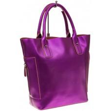 На фото 1 - Сумка шоппер из натуральной кожи, цвет фиолетовый