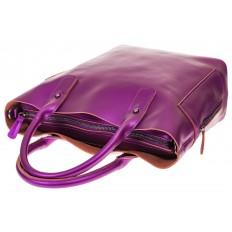 На фото 3 - Сумка шоппер из натуральной кожи, цвет фиолетовый