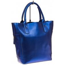 На фото 1 - Сумка шоппер из натуральной кожи, цвет синий