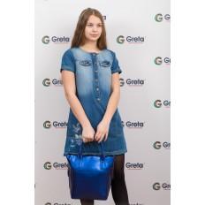 На фото 4 - Сумка шоппер из натуральной кожи, цвет синий
