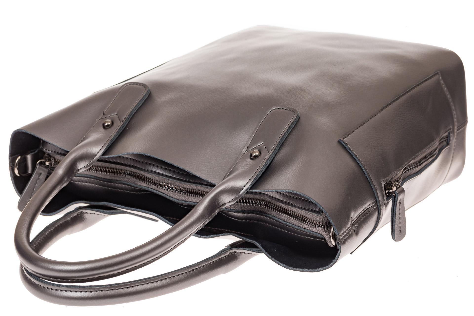 На фото 3 - Сумка шоппер из натуральной кожи, цвет серебристый