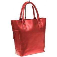 На фото 1 - Сумка шоппер из натуральной кожи, цвет красный