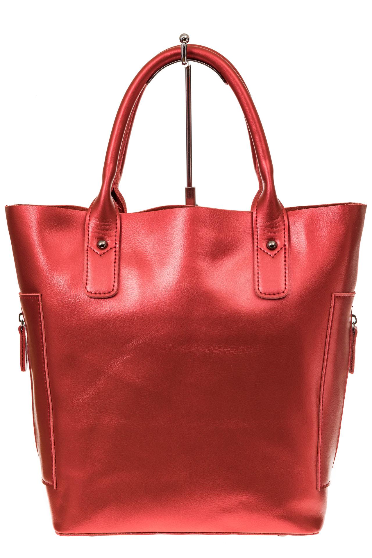 На фото 2 - Сумка шоппер из натуральной кожи, цвет красный
