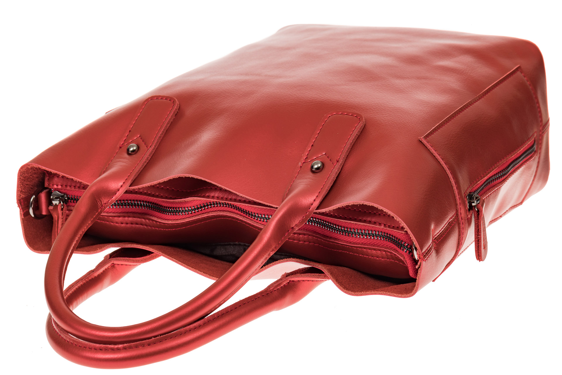 На фото 3 - Сумка шоппер из натуральной кожи, цвет красный