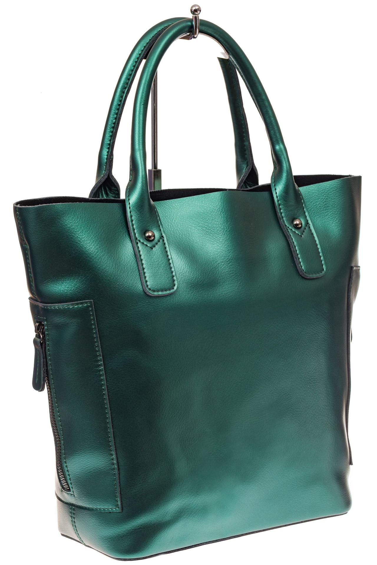 На фото 1 - Сумка шоппер из натуральной кожи, цвет зеленый