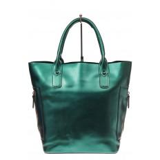 На фото 2 - Сумка шоппер из натуральной кожи, цвет зеленый