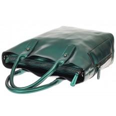 На фото 3 - Сумка шоппер из натуральной кожи, цвет зеленый
