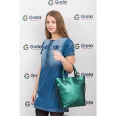 На фото 4 - Сумка шоппер из натуральной кожи, цвет зеленый