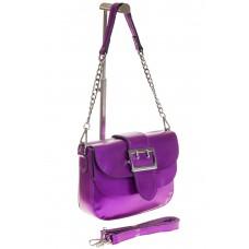 На фото 1 - Блестящая фиолетовая кросс-боди из натураль...