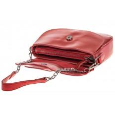 На фото 4 - Блестящая красная кросс-боди из натуральной кожи