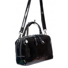 На фото 1 - Лаковая женская сумочка из натуральной кожи, цвет чёрный