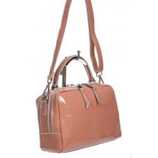 На фото 1 - Лаковая женская сумочка из натуральной кожи, цвет пыльная роза