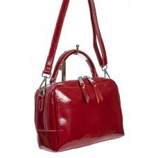На фото 1 - Лаковая женская сумочка из натуральной кожи, цвет бордовый