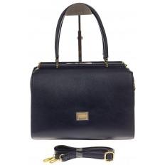 На фото 2 - Строгая женская сумка синего цвета из эко-кожи