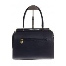 На фото 3 - Строгая женская сумка синего цвета из эко-кожи