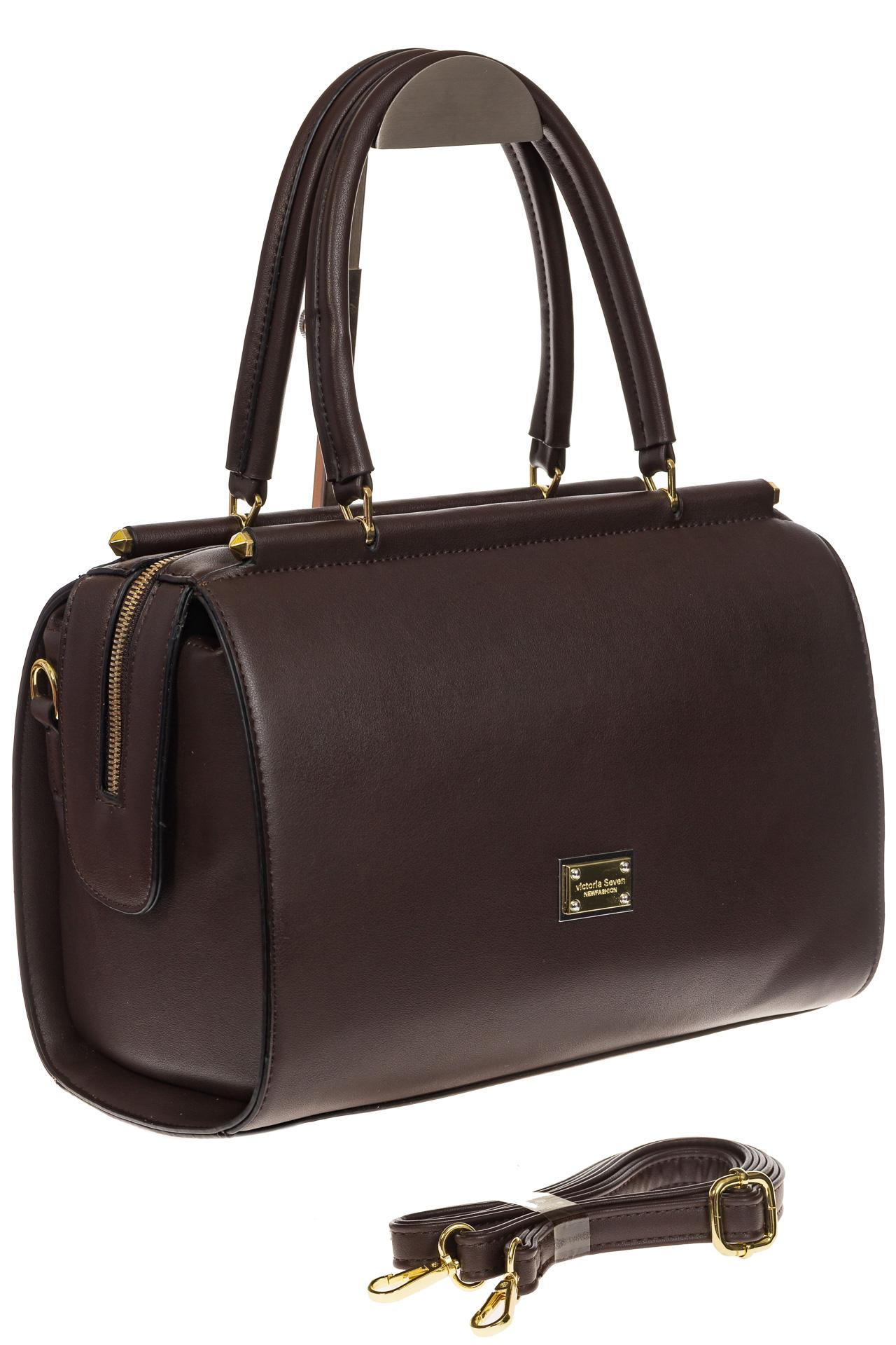 На фото 1 - Строгая женская сумка шоколадного цвета из эко-кожи