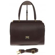 На фото 2 - Строгая женская сумка шоколадного цвета из эко-кожи
