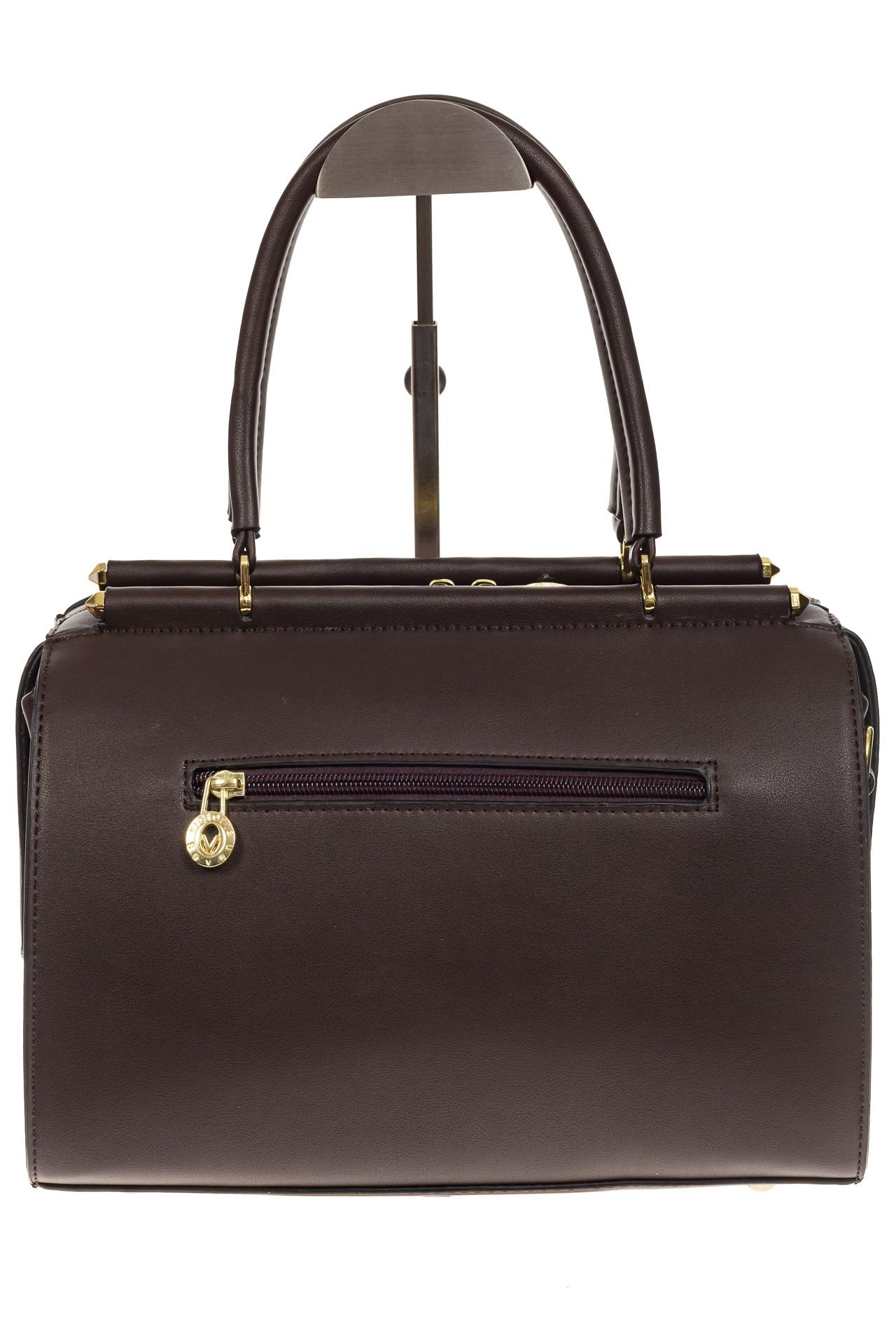 На фото 3 - Строгая женская сумка шоколадного цвета из эко-кожи