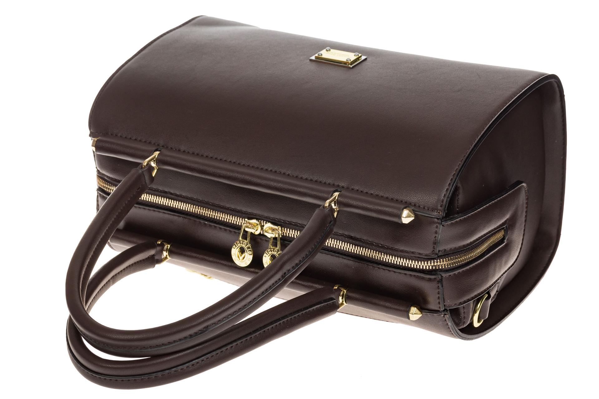 На фото 4 - Строгая женская сумка шоколадного цвета из эко-кожи