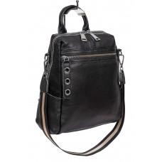 На фото 1 - Молодёжная сумка-рюкзак из фактурной натуральной кожи, цвет чёрный