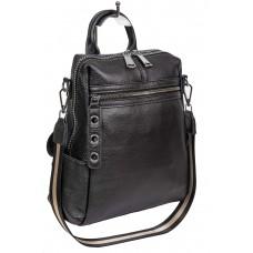 На фото 1 - Молодёжная сумка-рюкзак из фактурной натуральной кожи, цвет графит