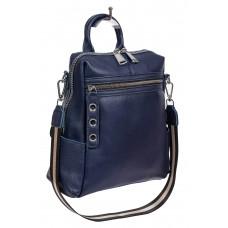 На фото 1 - Молодёжная сумка-рюкзак из фактурной натуральной кожи, цвет тёмно-синий