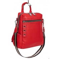 На фото 1 - Молодёжная сумка-рюкзак из фактурной натуральной кожи, цвет красный