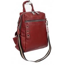 На фото 1 - Молодёжная сумка-рюкзак из фактурной натуральной кожи, цвет бордовый