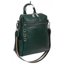 На фото 1 - Молодёжная сумка-рюкзак из фактурной натуральной кожи, цвет тёмно-зелёный