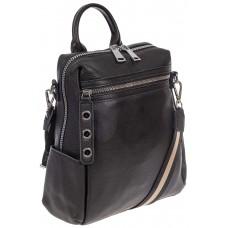 На фото 1 - Женский рюкзак-трансформер из натуральной кожи, цвет чёрный