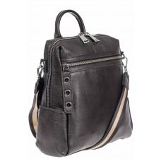 На фото 1 - Женский рюкзак-трансформер из натуральной кожи, цвет серый металлик