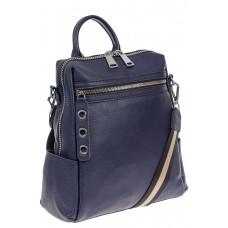 На фото 1 - Женский рюкзак-трансформер из натуральной кожи, цвет синий