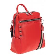 На фото 1 - Женский рюкзак-трансформер из натуральной кожи, цвет красный