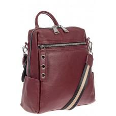 На фото 1 - Женский рюкзак-трансформер из натуральной кожи, цвет бордовый
