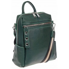 На фото 1 - Женский рюкзак-трансформер из натуральной кожи, цвет зелёный