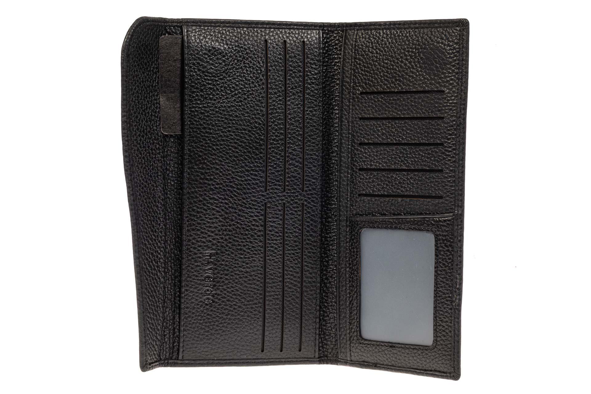 На фото 2 - Мужской кошелек из натуральной кожи, цвет черный