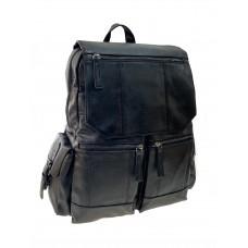 На фото 1 - Мужской рюкзак из искусственной кожи , черный цвет