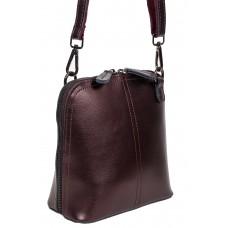 На фото 1 - Каркасная сумка кросс-боди из натуральной кожи, цвет бронзовый